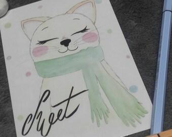 Sweet cat postcard