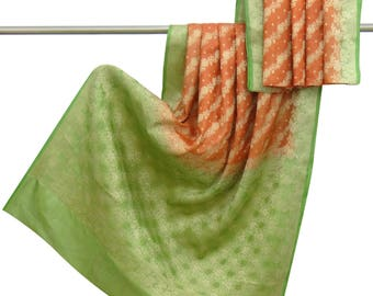 Antique Indian Vintage 100% Pure Silk Saree Orange Woven Antique Used Sari Craft Fabric 5 YD VPSW4768