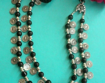 Indian jewellery traditional multistrand coin necklace