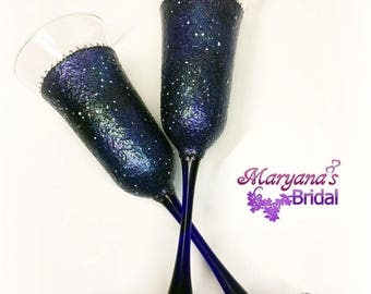 Galaxy. Blue Black Purple Champagne Toasting Flutes. Toasting Glasses. Galaxy Wedding Glasses. Stars Toasting Flutes. Galaxy Wedding.