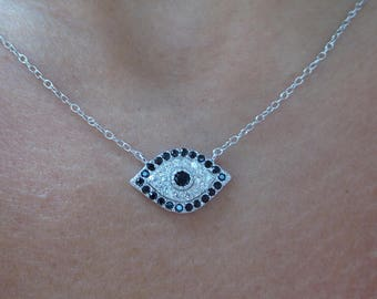 Evil Eye Necklace/ Kabbalah Necklace/ Protection Necklace/ Birthday Gift/ Sterling Silver Evil Eye Necklace/Bridesmaid Gift/CZ Necklace/925