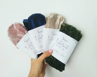 Pack of 4 velvet socks, Velvet Socks, gift, present, pink socks, blue socks, velvet