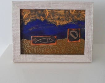 OOAK Abstract Artwork in Orange and Blue Mixed Media Collage Ready to Ship