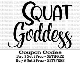 Squat Goddess SVG and PNG Files, Squat Svg, Workout Svg, Fitness Svg, Gym Svg Designs, Cricuit Svg Files for Silhouette Svg Files for Cricut