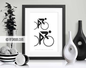 Final Sprint Print, Wall Art Printable, Black & White Bicycle Race Poster, Bikes, Wall Decor, Digital Download, Cycling Sports, Cyclist Gift