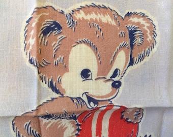 Vintage Child's Handkerchief / Bear and Ball