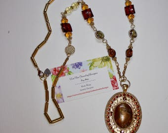 Shades of Gold Browns & Yellows  Madillian Oval Pendant