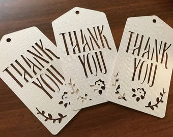 Sets of 15 Thank You Gift Tags, Wedding Favor Thank You, Gift Bag Tags, Laser Cut, Floral Gift Tag, Greenery Gift Tag, Party Gift Tags