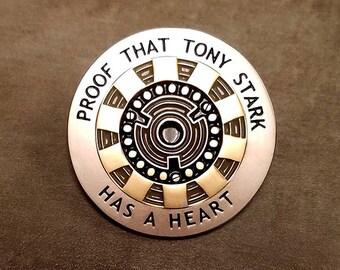 Tony Has A Heart: two-toned metal finish Arc Reactor enamel pin