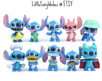 Lilo and Stitch cake toppers birthday party action figures movie toy 10 pieces plastic Lilo & Stitch cake topper party favors