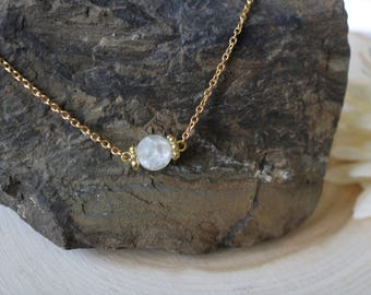 Crystal Quartz Stone Matte Crackle Gold Necklace
