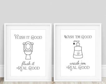 Flush Toilet Sign - Funny Bathroom Sign, Funny Bathroom Art, Toilet Sign, Kid Bathroom Sign, Wash Your Hands, Bathroom Prints