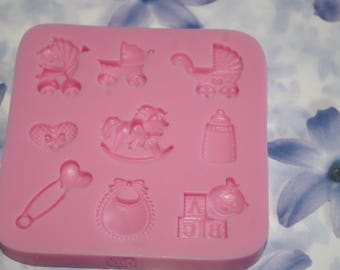 9 silicone mold baby theme decorations