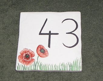 Poppies 2 figures creation handcrafted house number