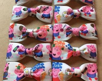 Peppa pig- George ribbon hair bows