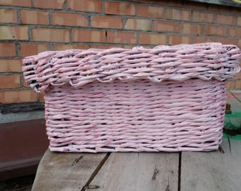 Wicker basket Woven basket Rectangular basket Decorative basket Storage baskets Large basket Paper baskets with lid Pink basket for girl