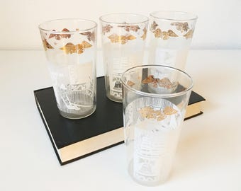 Vintage Colonial America Motif Tumblers + Set of 4 + White Gold + Iced Tea Tom Collins Glasses + Liberty Bell + Americana Decor + Bar Cart