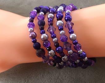 Purple memory wire bracelet, purple cuff bracelet. Lavender memory wire bracelet.  Plum bracelet.