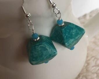 Turquoise dangle earrings.  Turquoise drop earrings.  Silver ear wires.