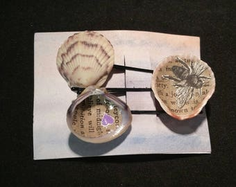 Handmade Seashell Hair Pin Beach Bridal Accessory with Vintage Book Pages