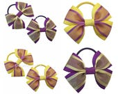 Purple and yellow grosgrain and organza ribbon hair bows on thick bobbles, Girls party hair accessories, fashion bows for girls, hair ties