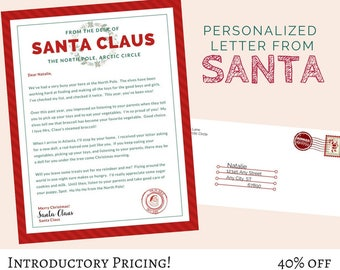 North pole postmark etsy for Postmarked letter from santa