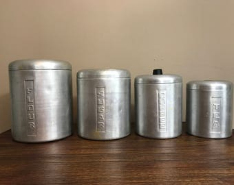 Retro Aluminum Kitchen Canisters
