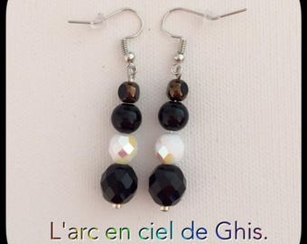 Earrings black and white, silver or gold plated hook.