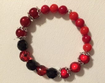 Bracelet beads black and Red transparent faceted black beads