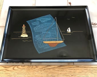 "Vintage Couroc of Monterey Nautical Inlaid Tray with Label 18"" by 12 1/2"""
