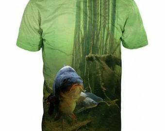 New Ultramodern 3D Printed High Quality Fish Men's Green T-shirt