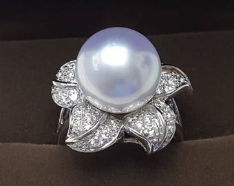 South Sea Pearl, 12mm, AAA quality, 18K Flower ring design with Diamonds