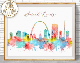 Saint Louis Art Saint Louis Skyline Saint Louis Print Saint Louis Missouri City Skyline Prints Skyline Art  ArtPrintZoneGift for Women