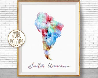 South America Map Etsy - Map of usa and south america