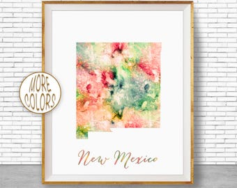 New Mexico Map Art Print New Mexico Art Print New Mexico Print Map Print Map Poster Watercolor Map Office Decor Office Poster ArtPrintZone