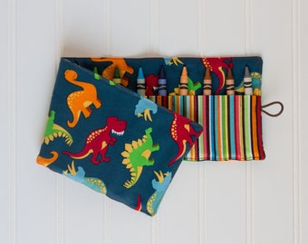 Crayon Roll up - Crayon Holder - Dinosaur Crayon Roll - Toddler Gift, Travel Toy, Birthday Party Gift
