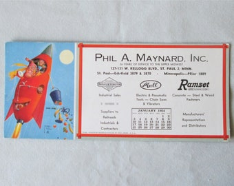 1954 Lawson Wood Calender Blotter Monkeys in Rocket Ship Bums Away Brown & Bigelow Phil A Maynard Inc
