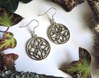 Silver Celtic knot earrings
