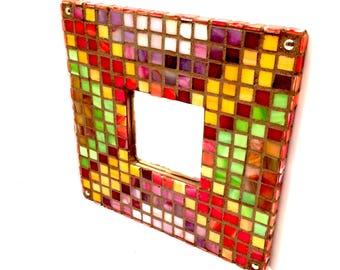 8 Bit Bacon Cheeseburger Mosaic Mirror Mosaic Tile Wall Mirror Mosaic Wall Art Stained Glass Kitsch Kitschy Gamer Gifts Decor 8 Bit Art