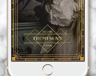 Gatsby Wedding Filter, Gatsby Snapchat Geofilter, Art Deco Geofilter, Wedding Snapchat Filter, Elegant snap chat filter, Engaged Snapchat