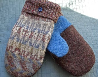 Wool mittens made from felted recycled upcycled sweaters lined with warm fleece brown blue womens soft well made