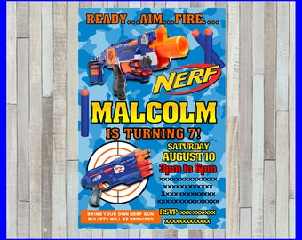 Nerf Invitation, Printable Nerf party invitation, Nerf Birthday invitation