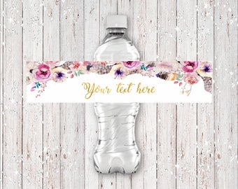 Customized Bohemian Style Water Bottle Label with Feathers, Flowers and Gold Foil Font