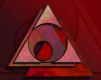 Pyramid Red - giclée print, wall art, fine art, artwork, picture, red, pink, home decor, triangle,