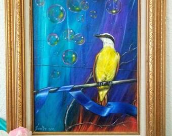 Original Oil Painting of a Great Kiskadee