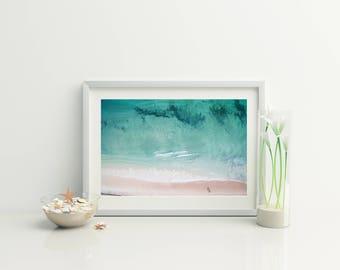Digital beach photo // Beach Aerial Photo / Coastal wall art // Beach Decor // Drone Photo // Ocean Photo // Photography //Bondi Beach Print