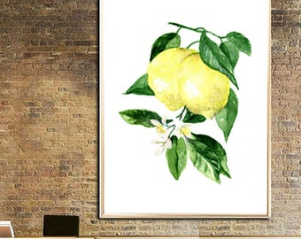 Lemon Leaves Lemon Art print Lemon painting Lemon watercolor print Lemon poster Lemon illustration Lemon plant Lemon decor art Lemon fruit
