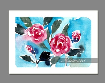 001 Loose flower : watercolors art, abstract loose flower, roses, blue, pink rose, digital download, 5x7, 8x12, 11x14