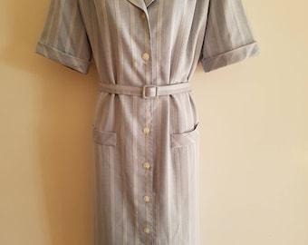 Vintage Striped Chambray Colour Shirt Dress Stitches AU Size 16
