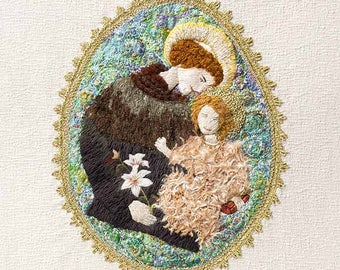 SANTO ANTÔNIO  – Embroidery, Hand Embroidery, Textile Art, Colourful Giclee, Limited Edition Print, Wall Art.